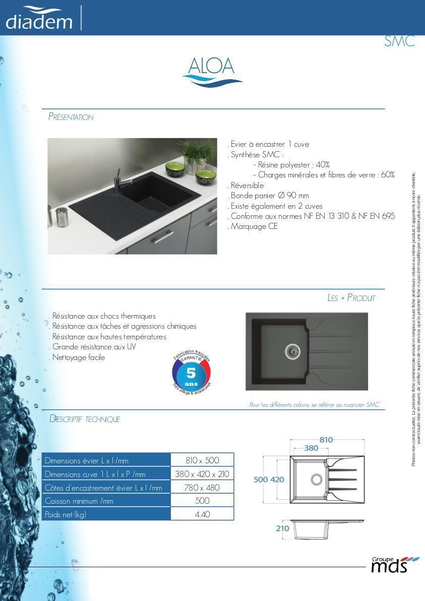 Beton De Synthese Avis stradour evier cuisine à encastrer 1 bac + 1 égouttoir aloa