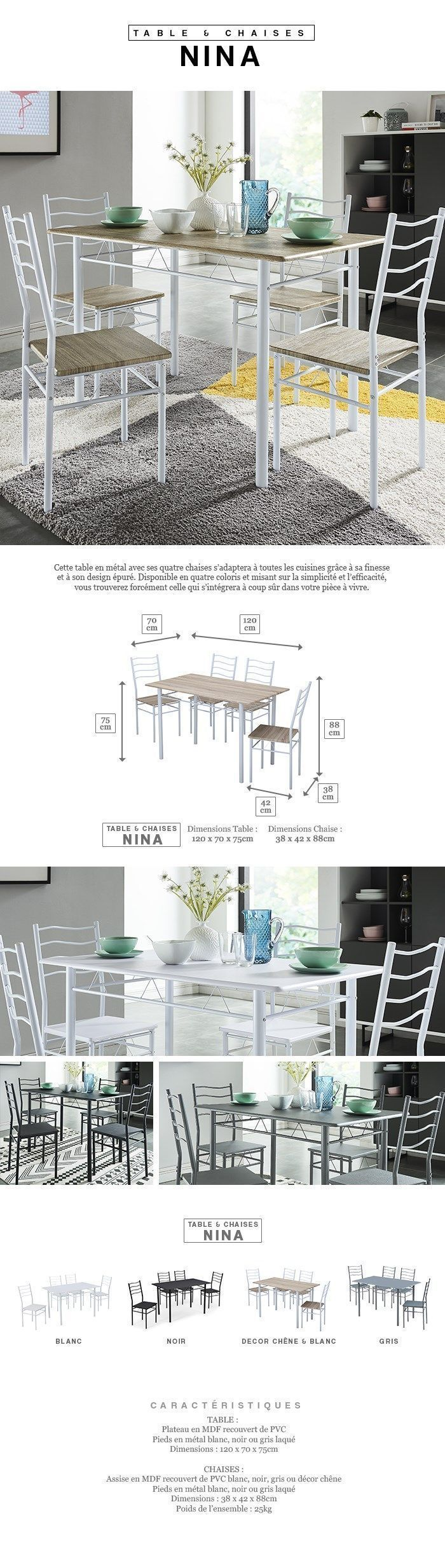 Peut On Mettre Du Mdf Dans Une Salle De Bain ~ nina ensemble table manger de 4 6 personnes 4 chaises