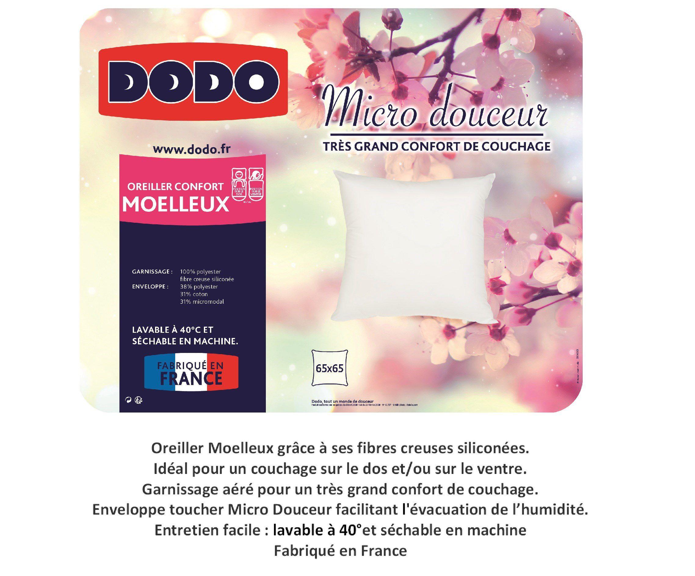 haut de page oreiller DODO Oreiller Micro Douceur   65x65 cm   Achat / Vente oreiller  haut de page oreiller