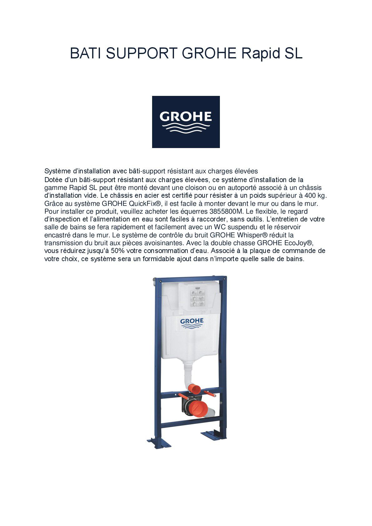 Wc Suspendu Grohe Dimension pack complet wc suspendu grohe bâti-support 113 cm + plaque
