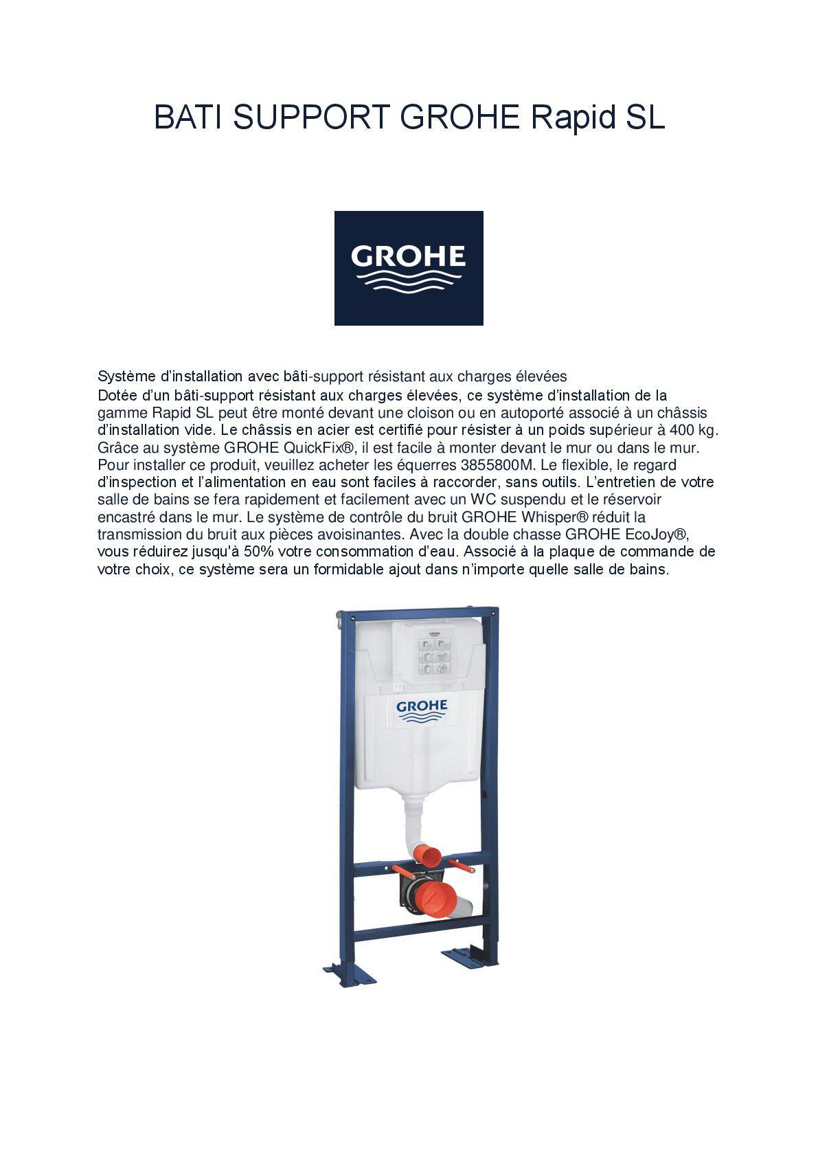 Wc Suspendu 4 Pieds pack complet wc suspendu grohe bâti-support 113 cm + plaque