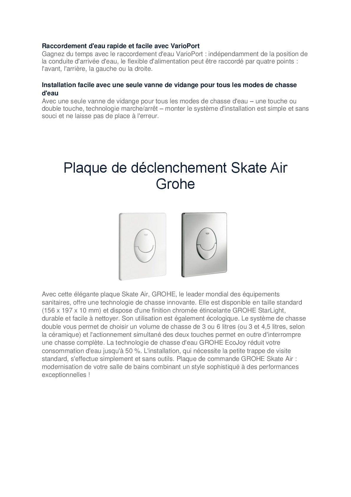 Notice Installation Wc Suspendu Grohe grohe pack wc suspendu complet avec plaque blanche et