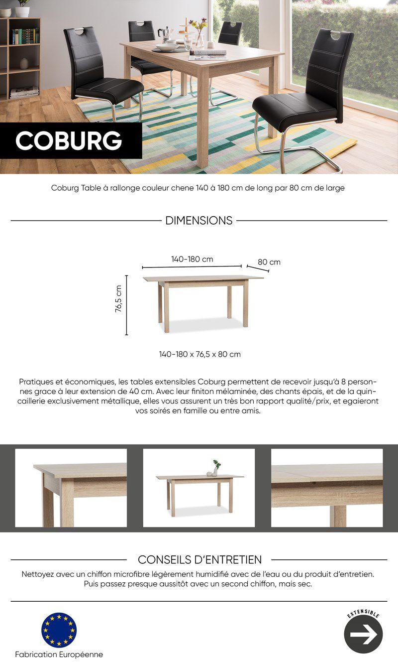 COBURG Table à manger extensible de 6 à 10 personnes classique décor chêne  - L 137 53b1148a4e30