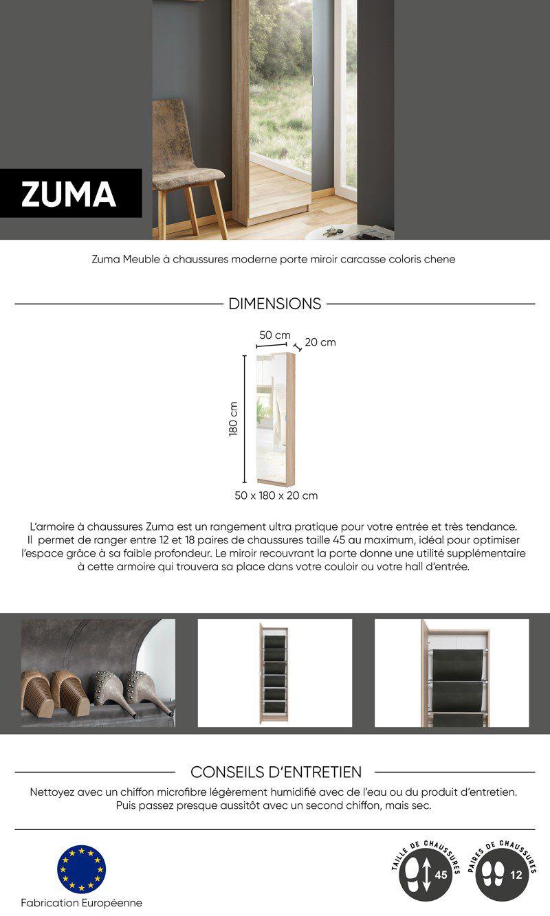 Zuma Meuble A Chaussures Contemporain Decor Chene Sonoma L 50 5 Cm