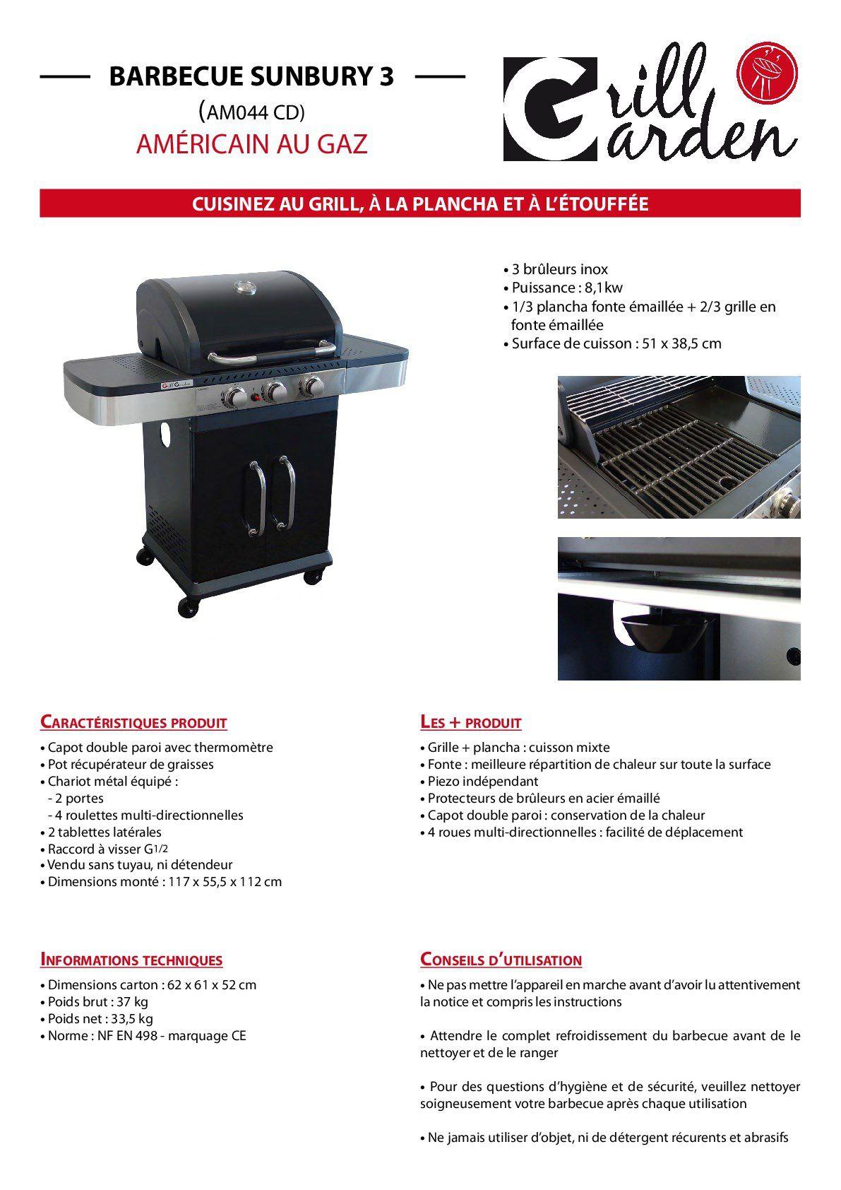 Barbecue Gaz Sans Plancha grill garden barbecue à gaz 3 brûleurs - fonte émaillée - 51