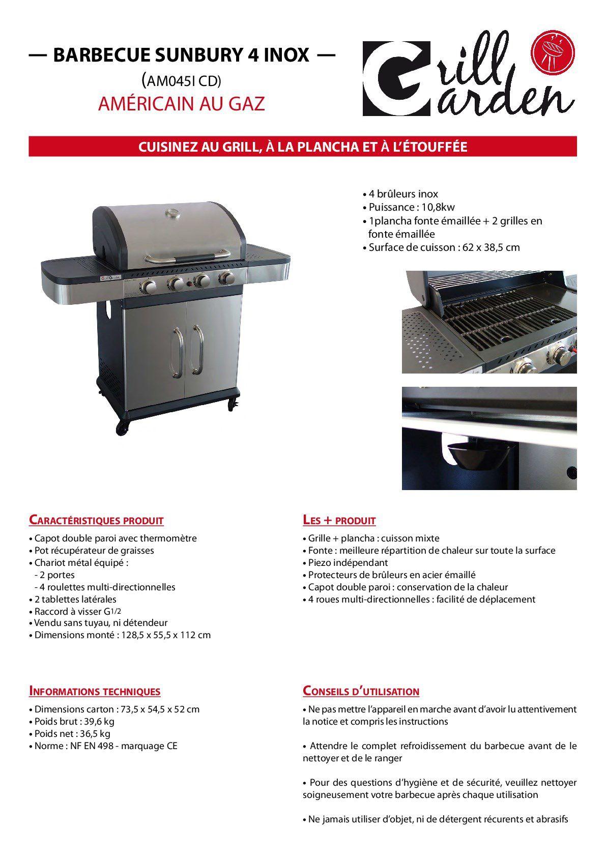 Enlever Rouille Sur Plancha En Fonte grill garden barbecue à gaz 4 brûleurs - fonte émaillée - 62