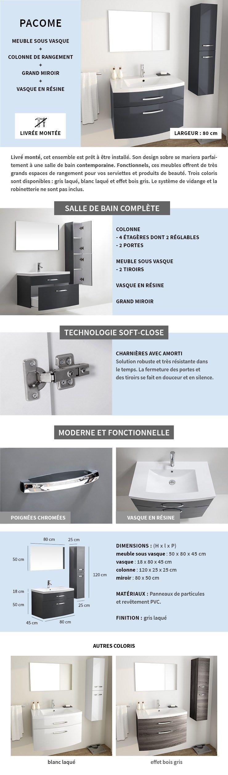 Armoire Salle De Bain Cdiscount ~ pacome salle de bain compl te simple vasque l 80 cm gris laqu