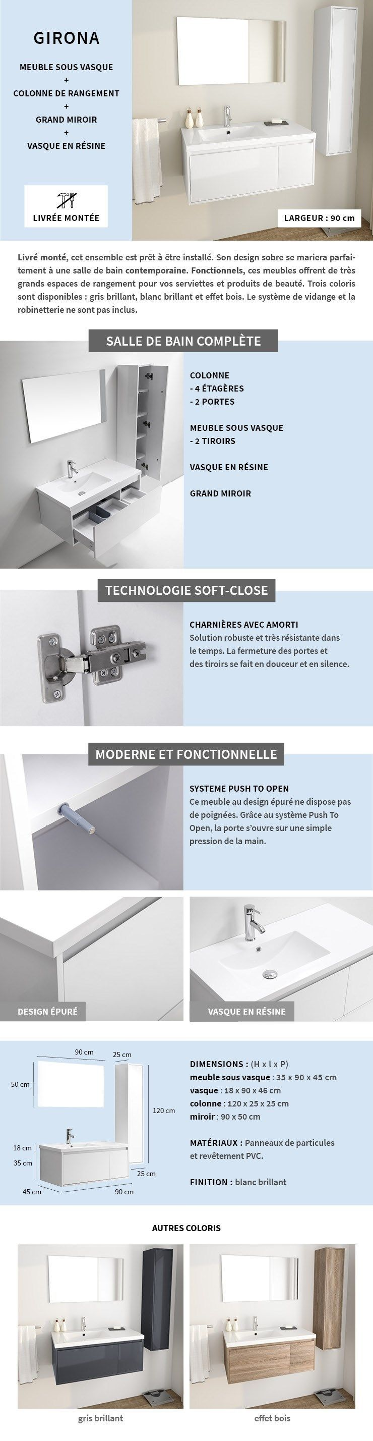 Armoire Salle De Bain Cdiscount ~ girona salle de bain compl te simple vasque l 90 cm blanc laqu