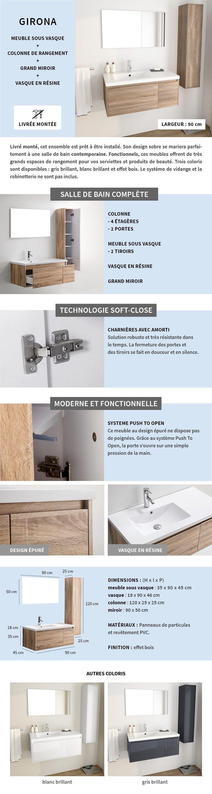 Meuble Salle De Bain Girona girona salle de bain complète simple vasque l 90 cm - décor