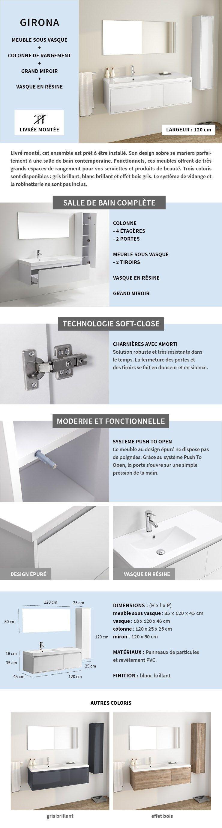 Meuble Salle De Bain Girona girona salle de bain complète simple vasque l 120 cm - blanc