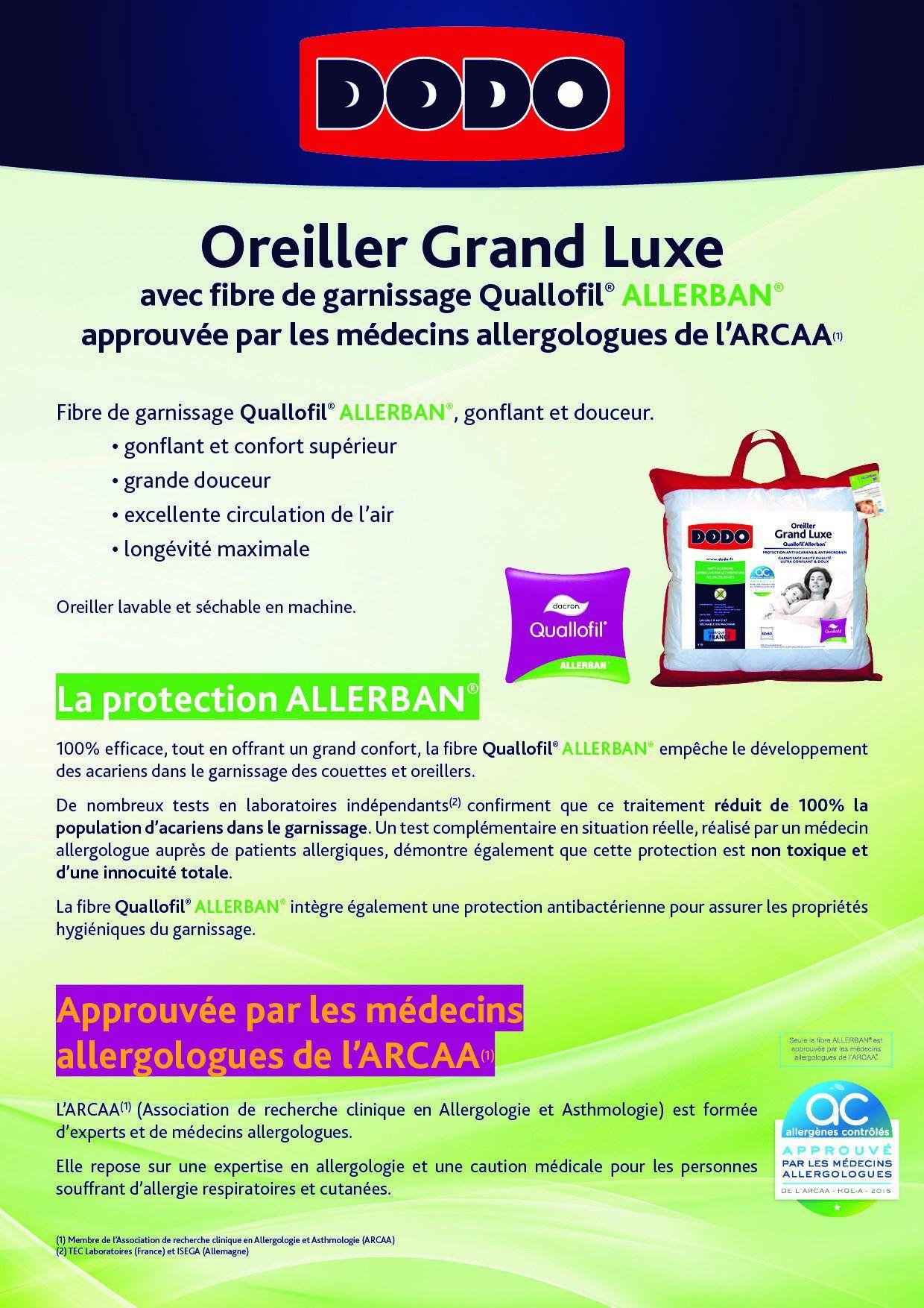 Dodo Oreiller Grand Luxe Quallofil Allerban 60x60 Cm Blanc Achat