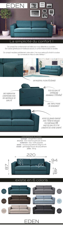 Mousse Polyuréthane 30 Kg M3 Canapé eden canapé droit fixe 3 places - tissu bleu - contemporain - l 220 x p 94  cm