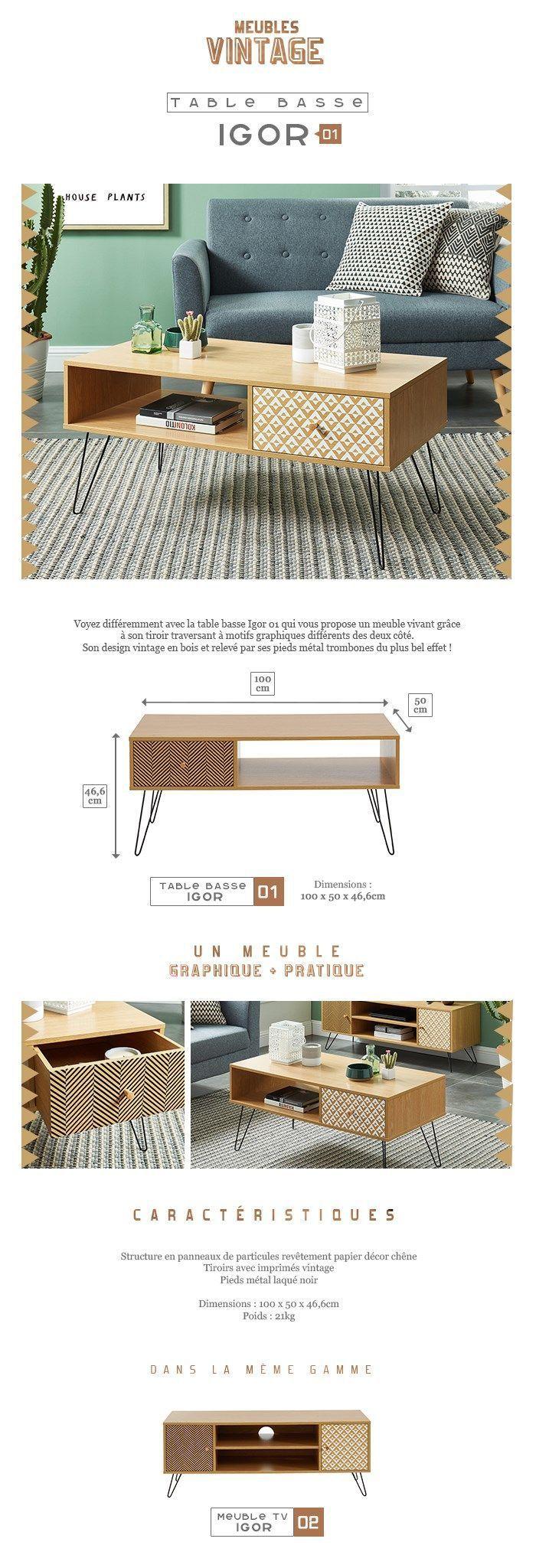 b78def7652d5eb Descriptif   IGOR Table basse vintage décor chêne et imprimé - L 100 x l 50  cm