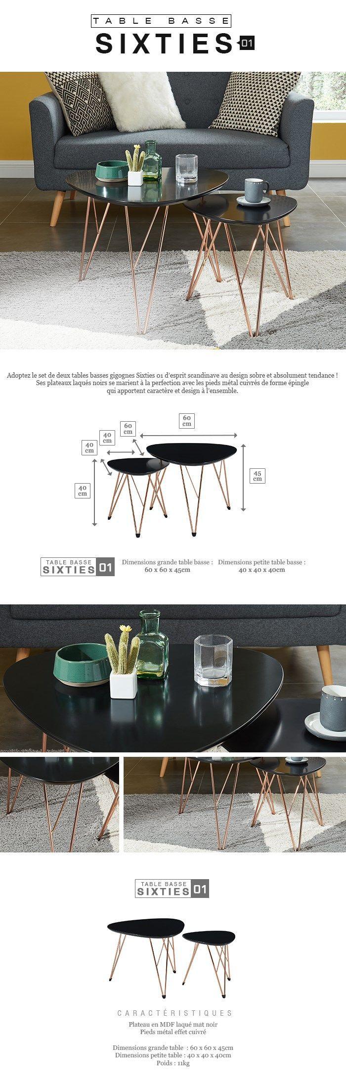 SIXTIES 2 tables basses gigognes vintage - MDF noir laqué mat avec pieds métal cuivre laqué - L 60 x l 60 cm et L 40 x l 40 cm