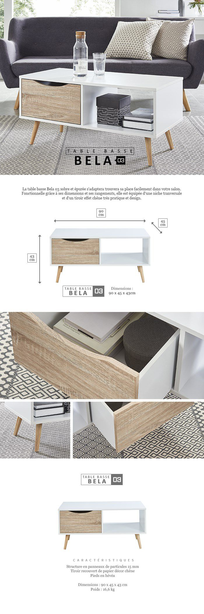 BELA Table basse scandinave blanc et chêne - L 90 cm