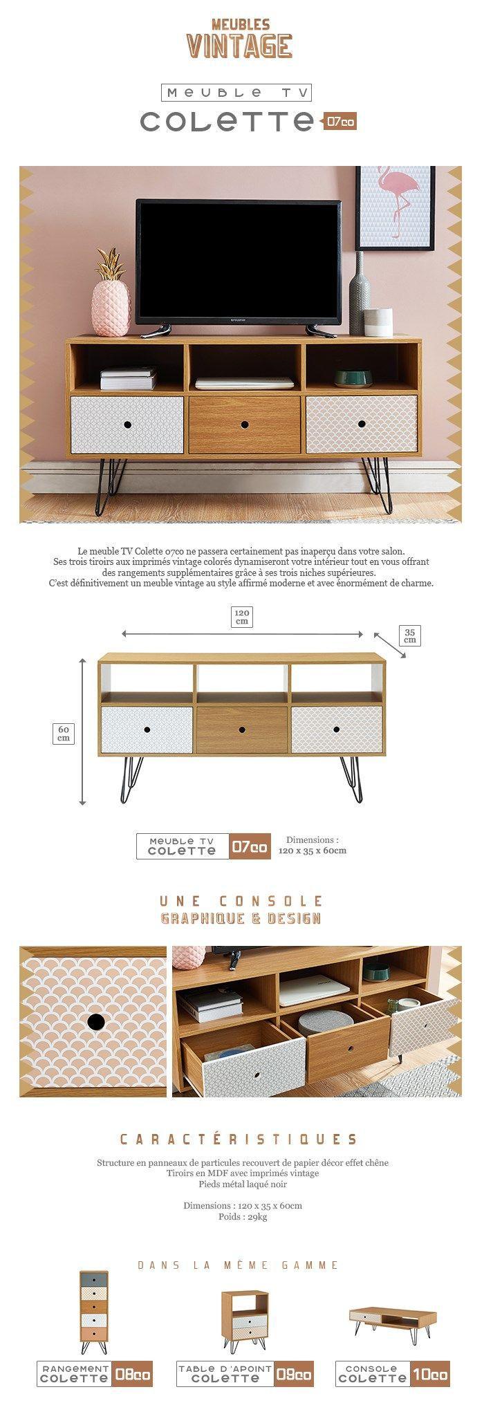 COLETTE Meuble TV scandinave décor chêne et imprimé + pieds métal noir laqué - L 120 cm