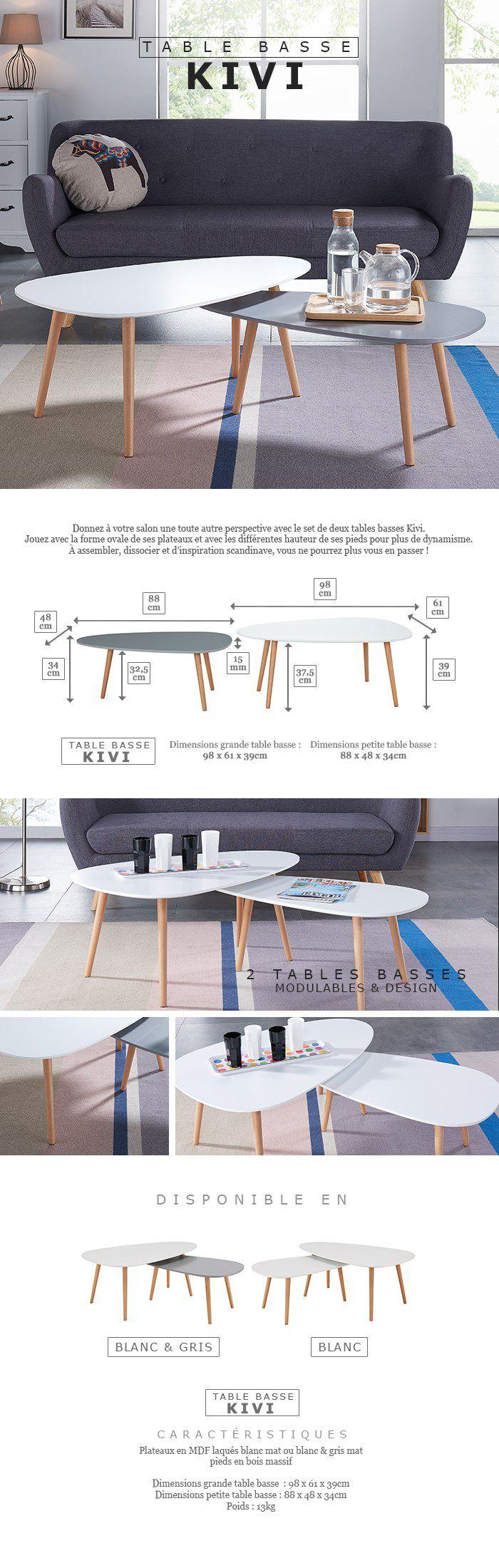 Grande Table Basse Bois kivi lot de 2 tables basses gigognes scandinave blanc laqué et gris mat - l  98 x l 61 et h39