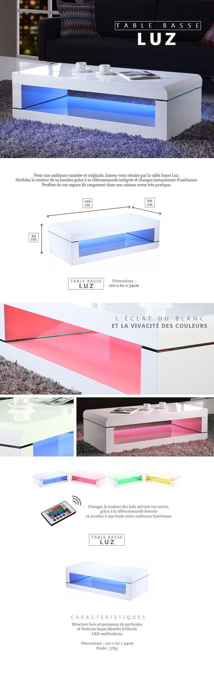 LUZ Table basse avec LED multicolore style contemporain laqué blanc brillant - L 120 x l 60 cm