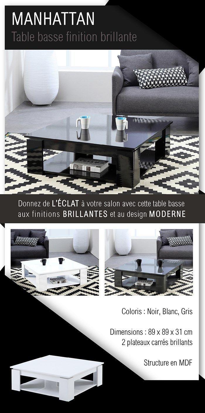 Manhattan 89 Contemporain Brillant Carrée Noir Basse Style Table L PuTwZOkXil