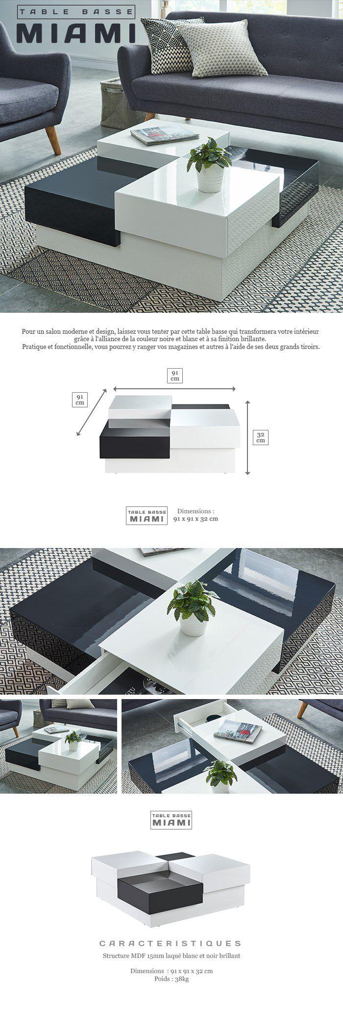 MIAMI Table basse carrée style contemporain laquée noir et blanc brillant - L 91 x l 91 cm