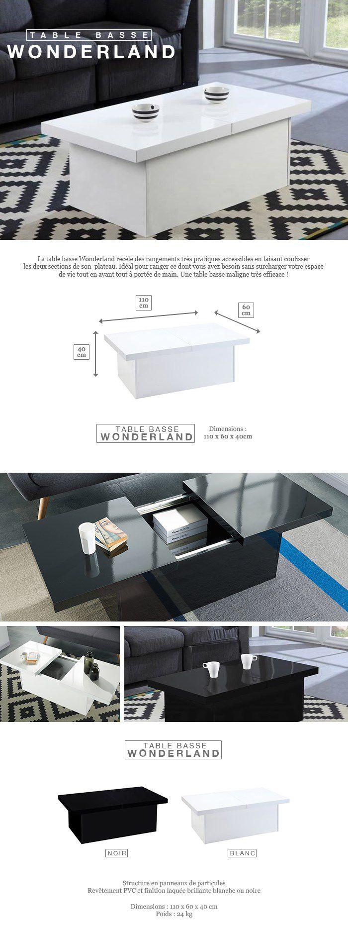 WONDERLAND Table basse extensible style contemporain noir brillant - L 110-142 x l 60 cm
