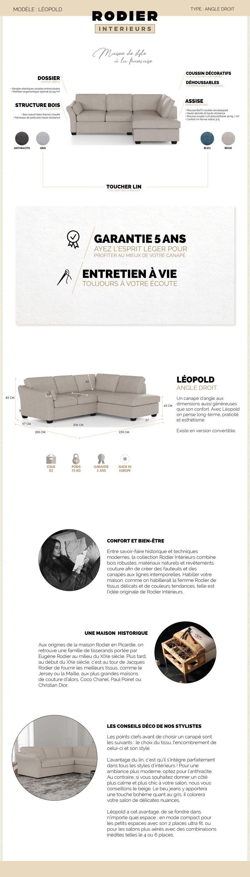 LEOPOLD Canapé d'angle droit 5 places - Tissu beige crème - Classique - L 250 x P 200 cm