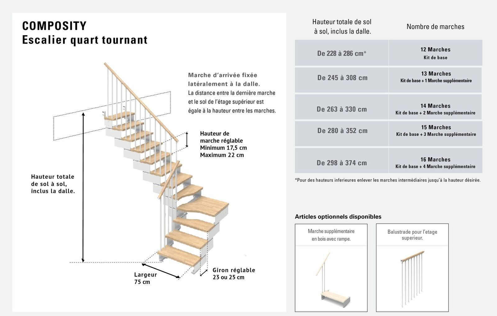Largeur D Une Marche D Escalier escalier quart tournant 12 marches en bois massif naturel