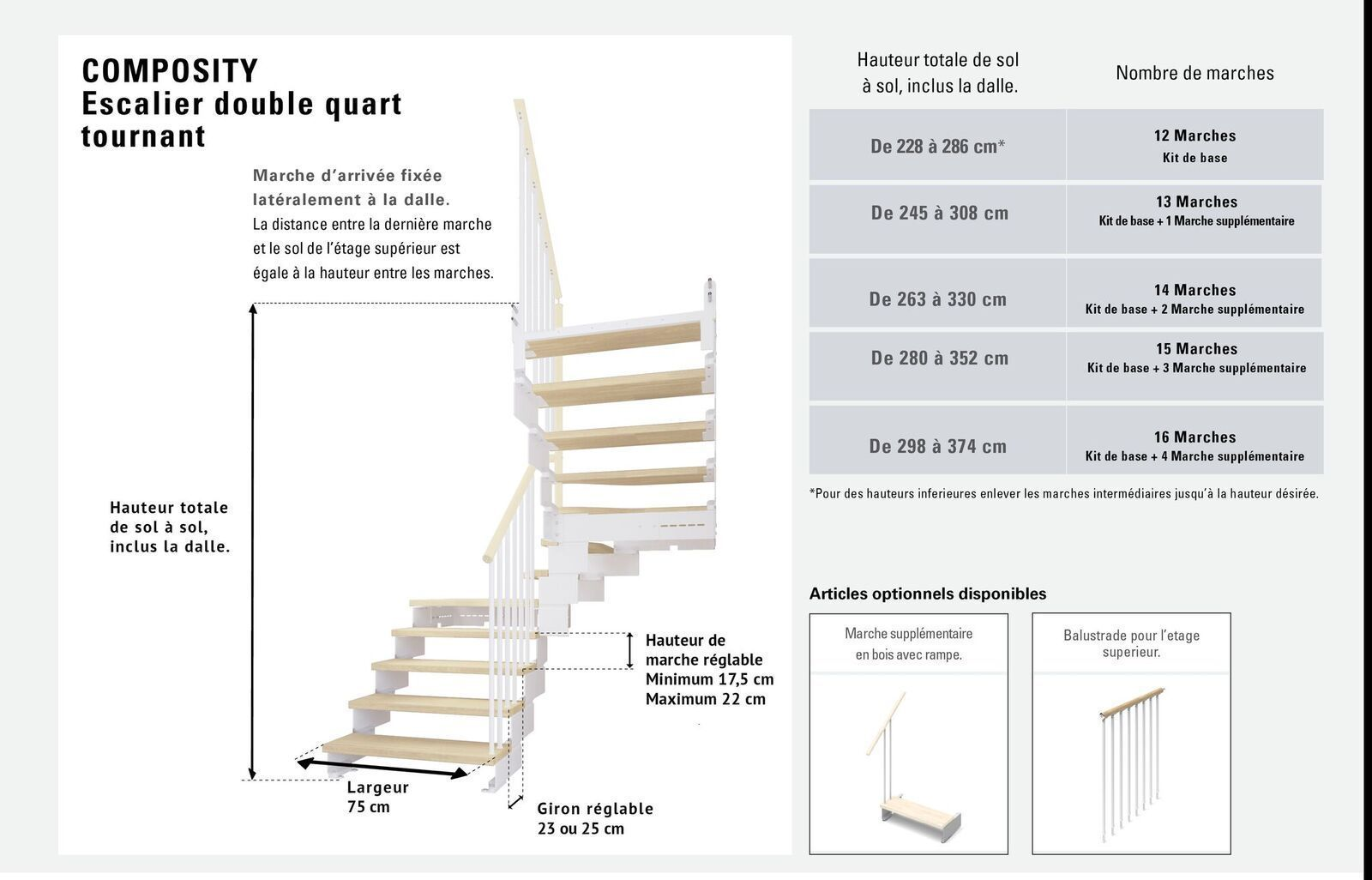 Escalier Double Quart Tournant 12 Marches En Bois Massif