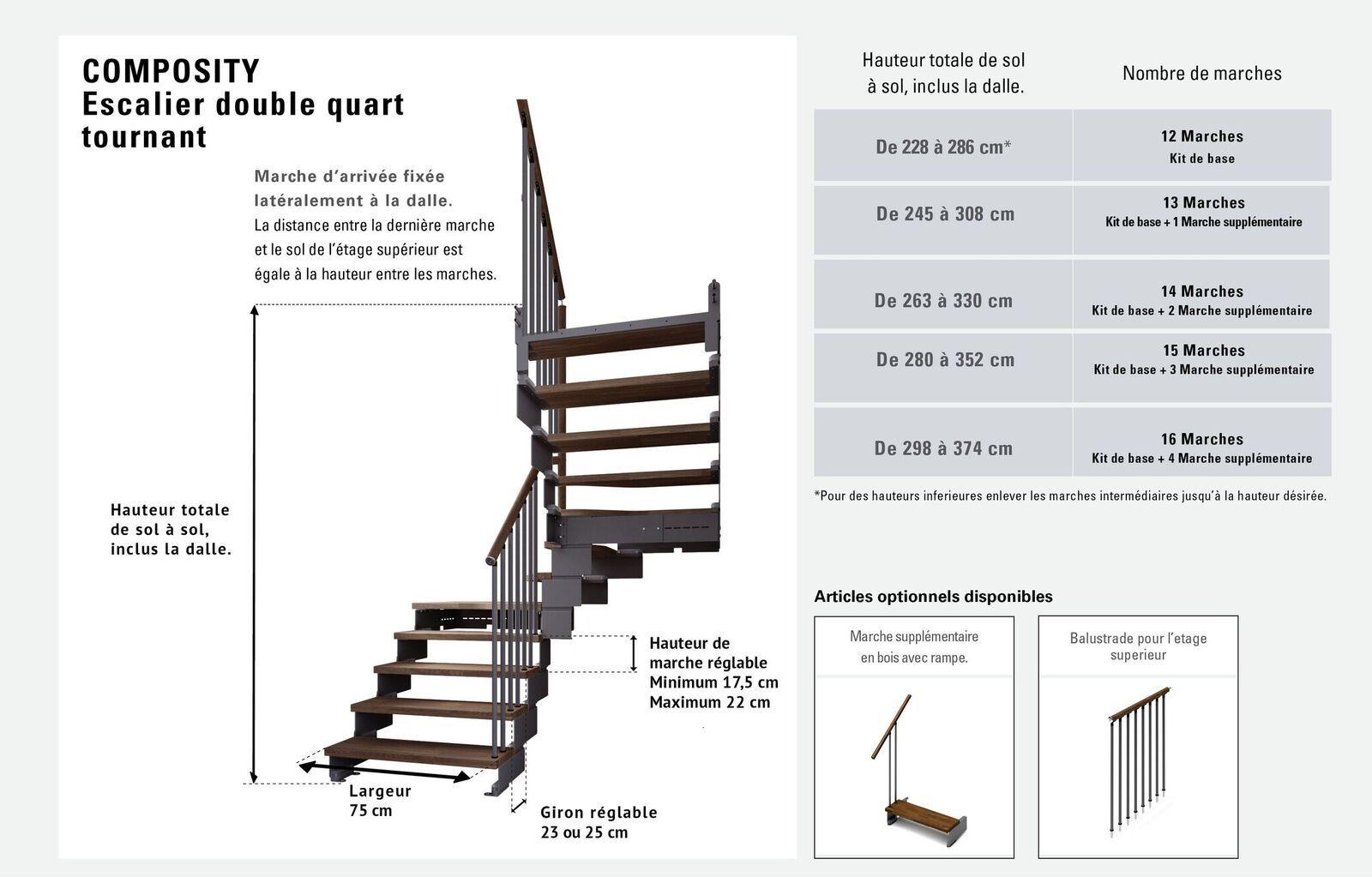 Largeur D Une Marche D Escalier escalier double quart tournant 11 marches en bois massif