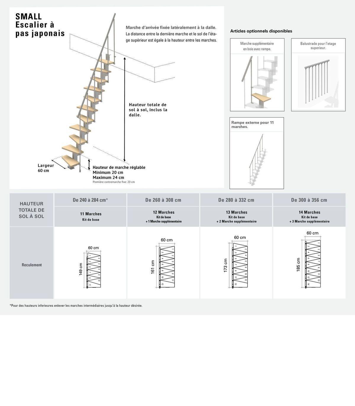 Largeur D Une Marche D Escalier escalier compact 11 marches en bois multiplis - structure en