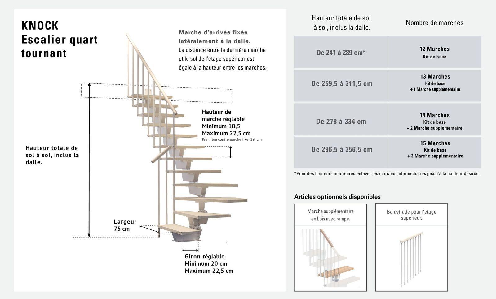 Largeur D Une Marche D Escalier escalier quart tournant 12 marches - structure métal et