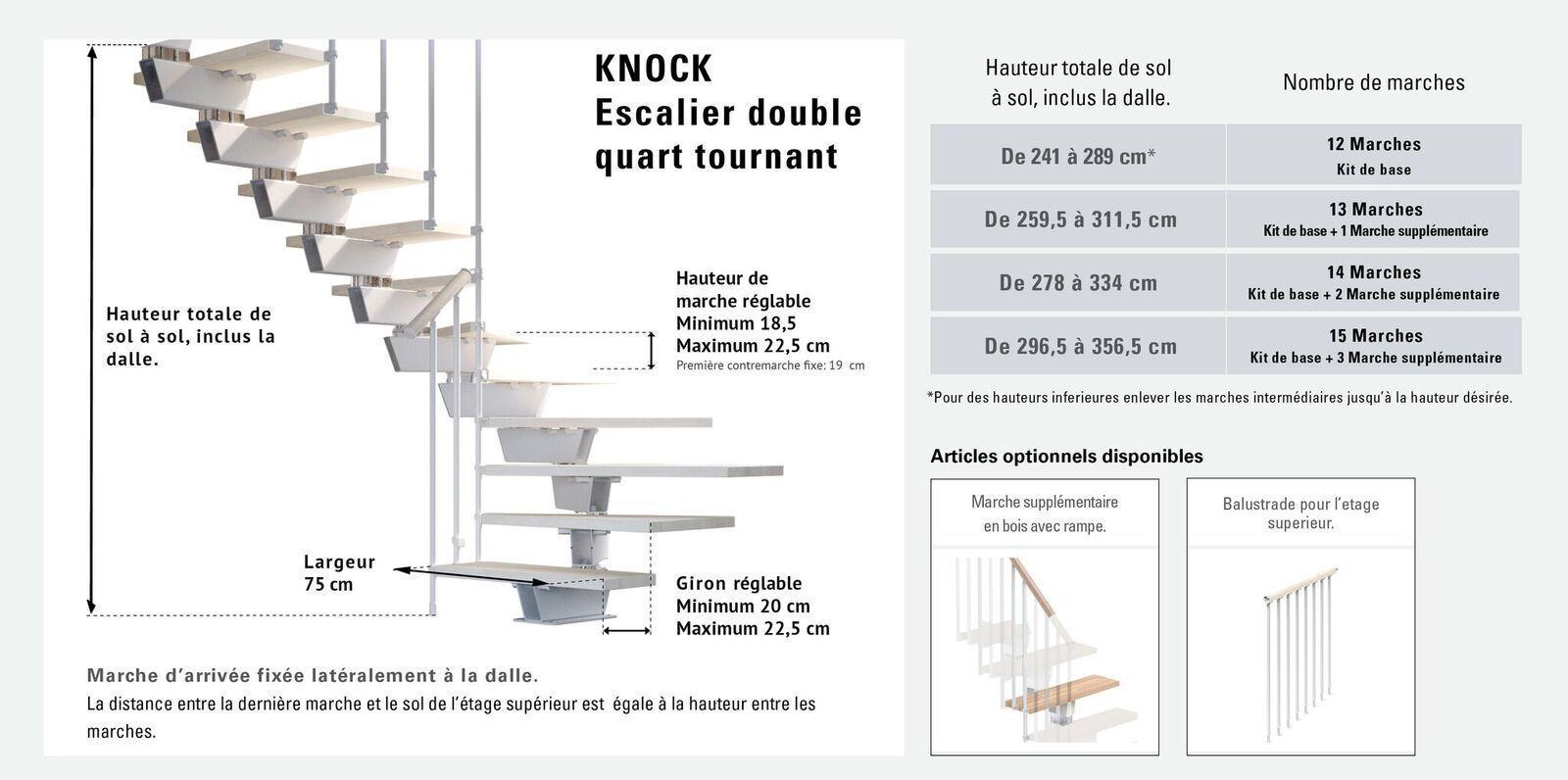 Escalier Double Quart Tournant 12 Marches Structure Metal Et Marches En Bois Massif Naturel Knock Misterstep