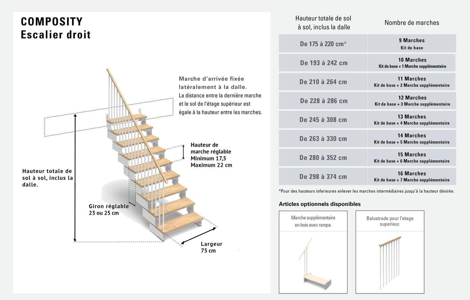 Escalier droit 9 marches en bois massif naturel ...