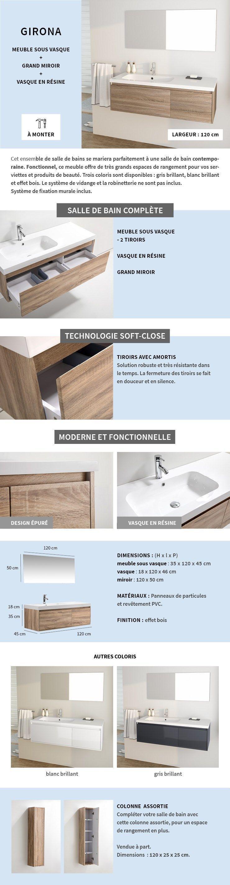 Meuble Salle De Bain Girona girona ensemble meubles de salle de bain simple vasque +