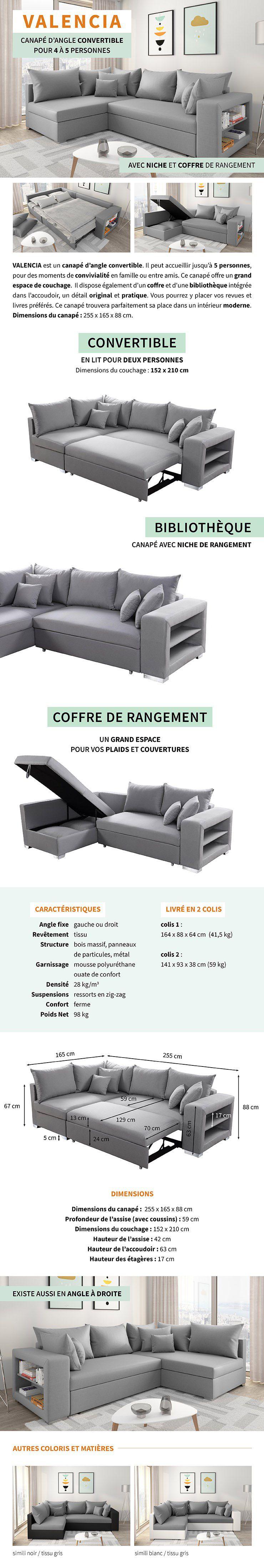 VALENCIA Canapé d'angle gauche convertible 5 places - Tissu gris - Contemporain - L 255 x P 165 cm