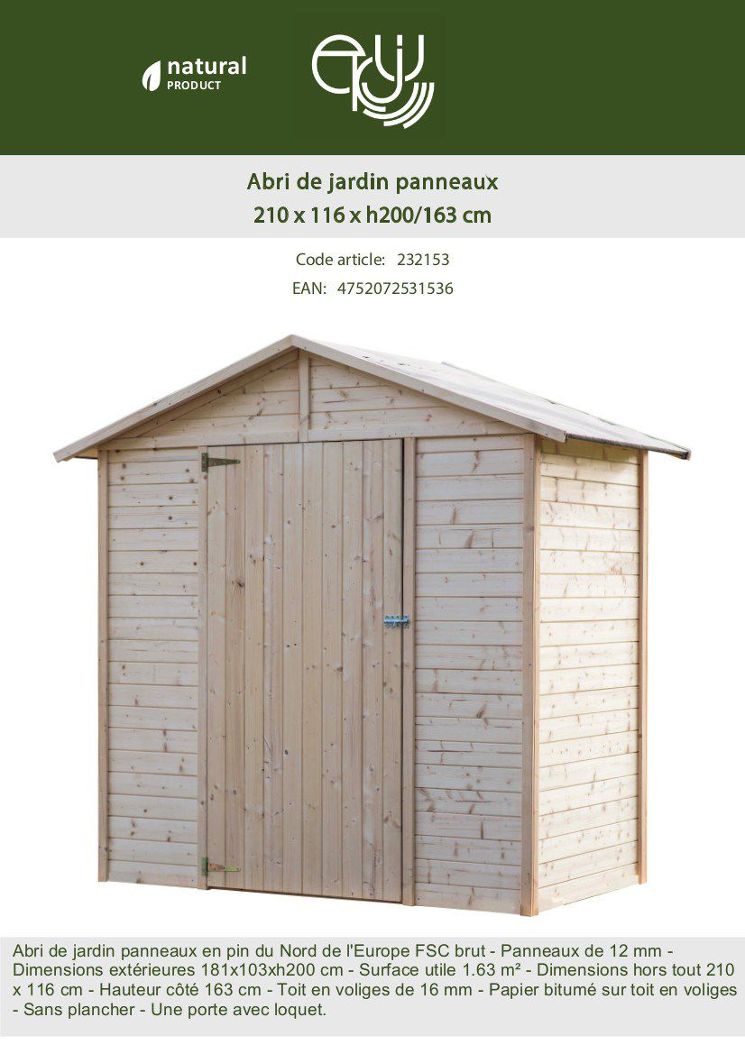 Abri De Jardin En Bois A Monter Soi Meme abri de jardin en sapin fsc -2.43m²- 181x103xh200 cm - achat