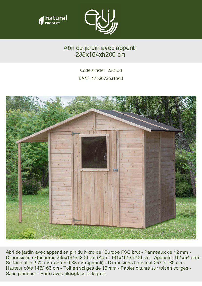 Abri De Jardin Avec Palettes abri de jardin bois + abri bûches - fsc - 4.21m²- l 235 x l