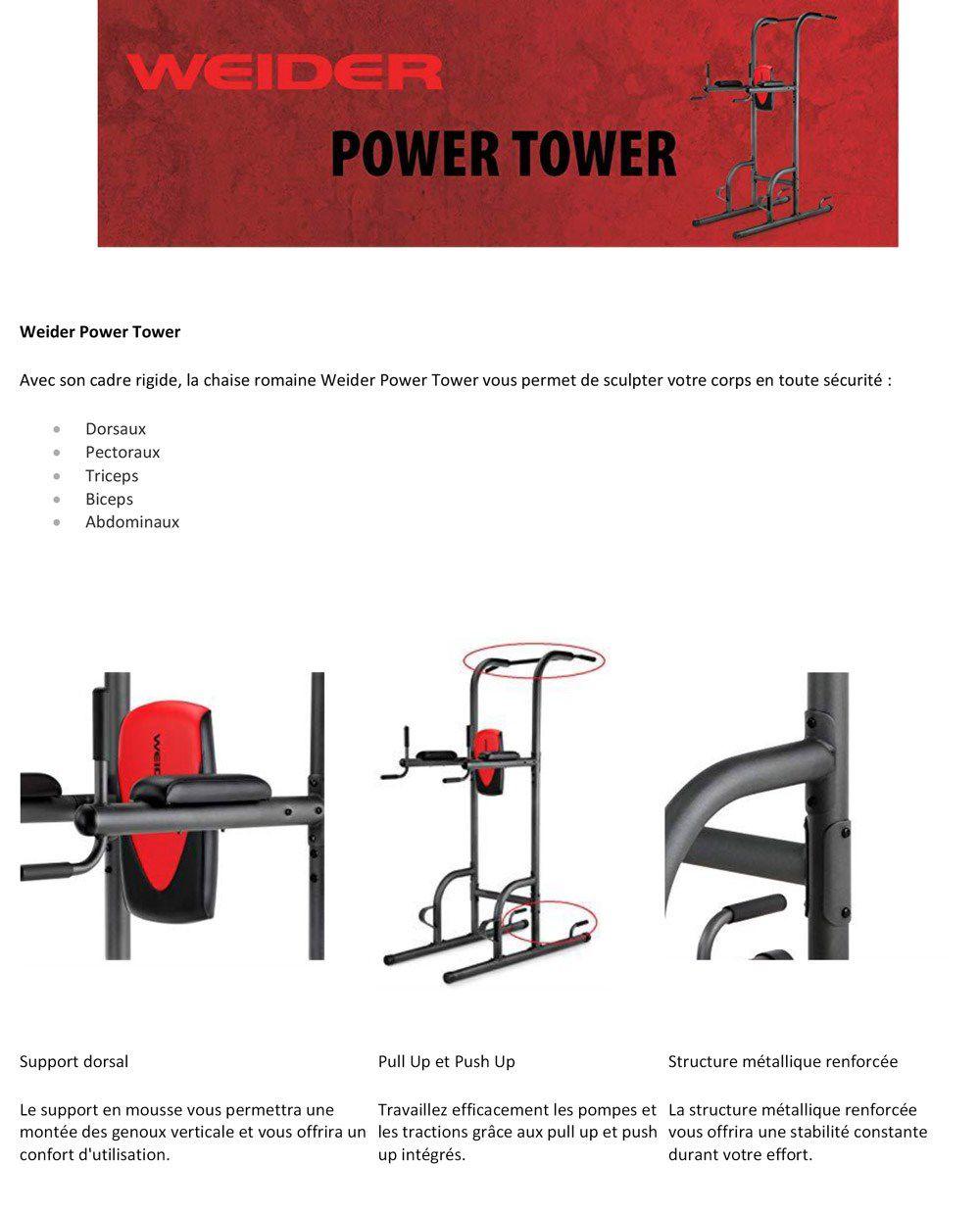 Descriptif WEIDER Chaise Romaine Power Tower