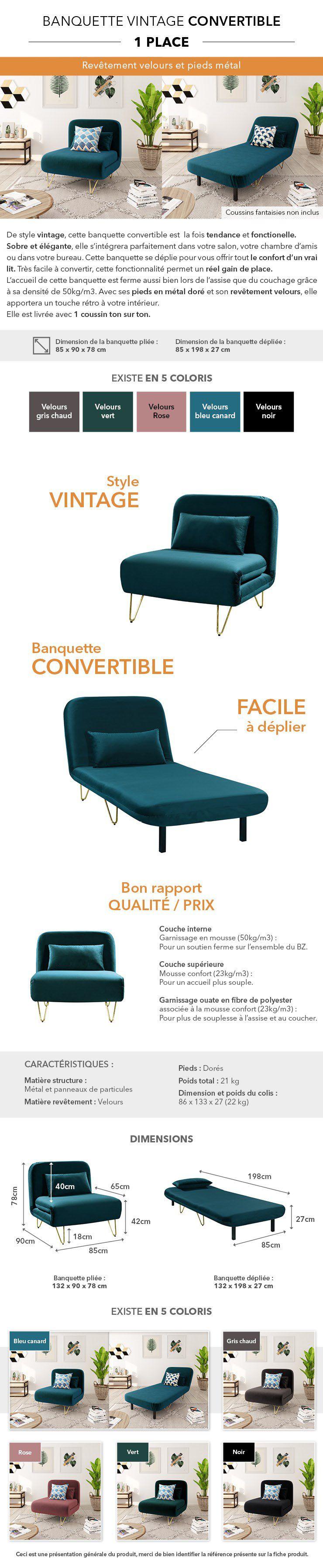 bedz banquette bz 1 place - velours bleu canard - vintage - l 85 x p