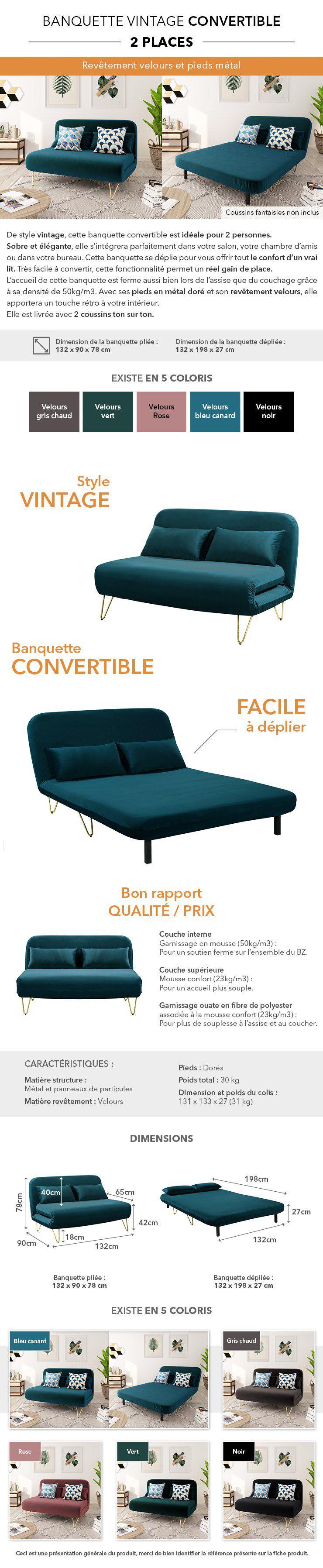 bedz banquette bz 2 places - velours bleu canard - vintage - l 132 x