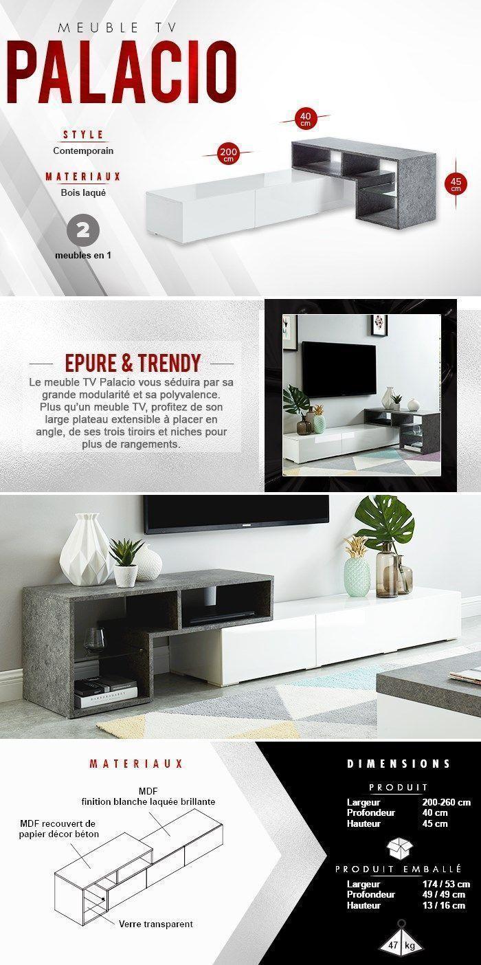 Meuble Blanc Laqué Brillant palacio meuble tv modulable contemporain blanc laqué
