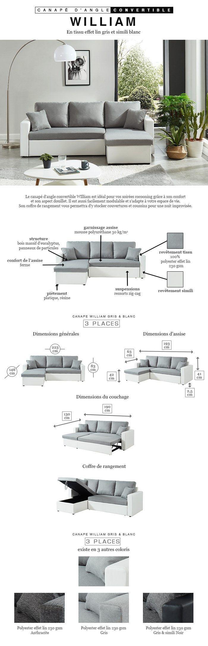 WILLIAM Canapé d'angle réversible convertible 3 places - Tissu gris et simili blanc - Contemporain - L 223 x P 146 cm