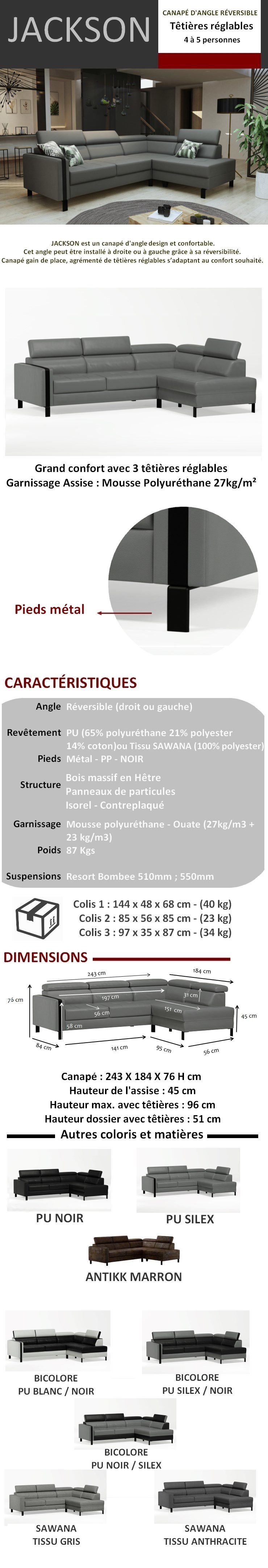 JACKSON Canapé d'angle réversible 4 places - Tissu gris - Contemporain - L 243 x P 184 cm