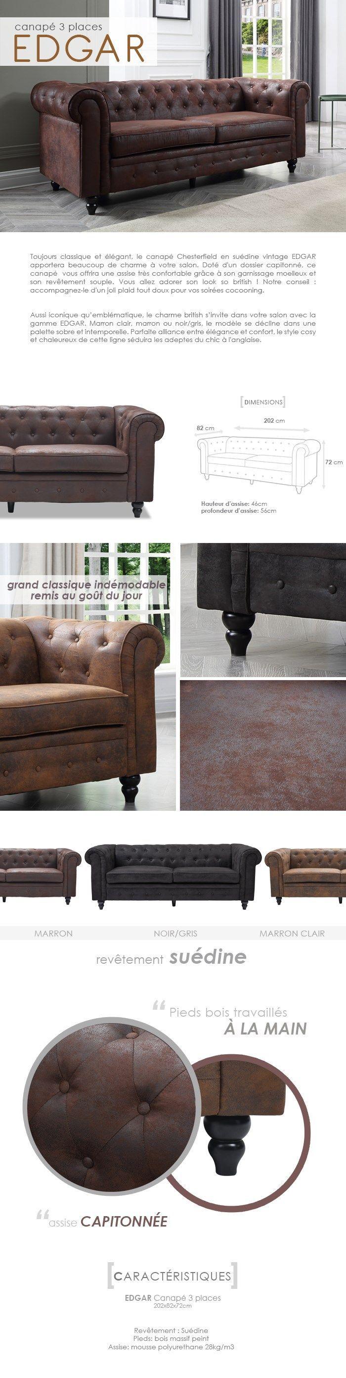 EDGAR Canapé Chesterfield droit fixe 3 places - Tissu microfibre marron clair - Vintage - L 202 x P 82 cm