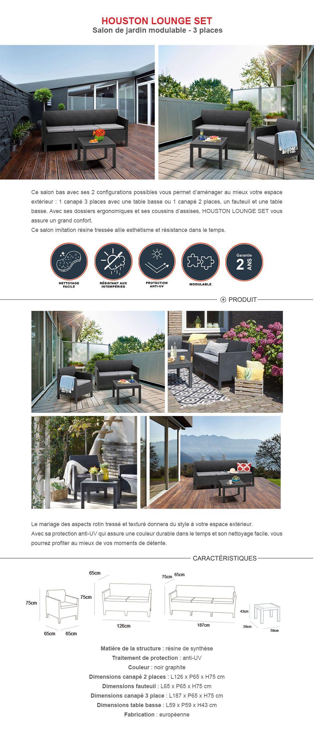 Lounge Fauteuil Houston.Allibert Salon De Jardin Houston 3 Places Modulable Avec