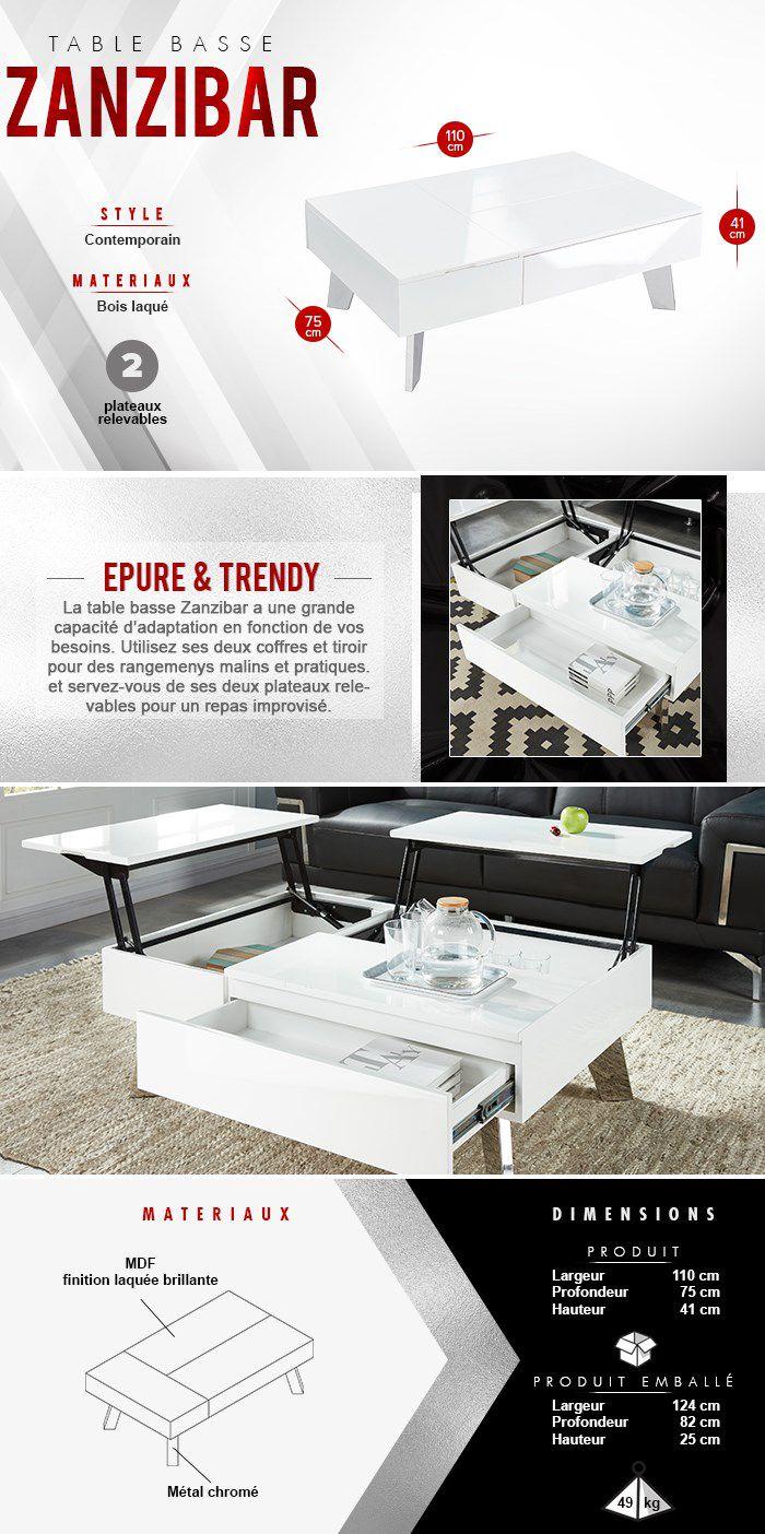Zanzibar Table Basse Transformable Style Contemporain Laqué Blanc