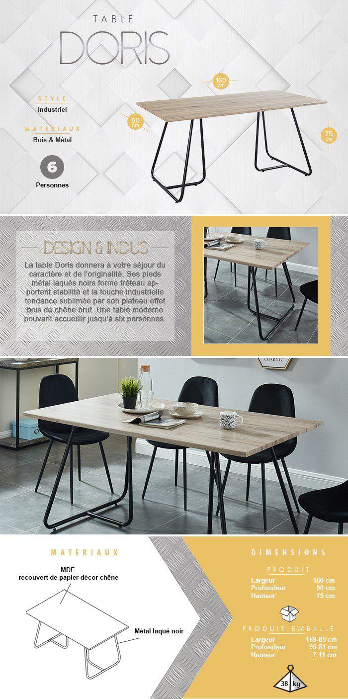 Table de 6 à 8 personnes - Métal noir laqué + plateau en MDF décor chêne - L 160 x l 90 x H 75 cm