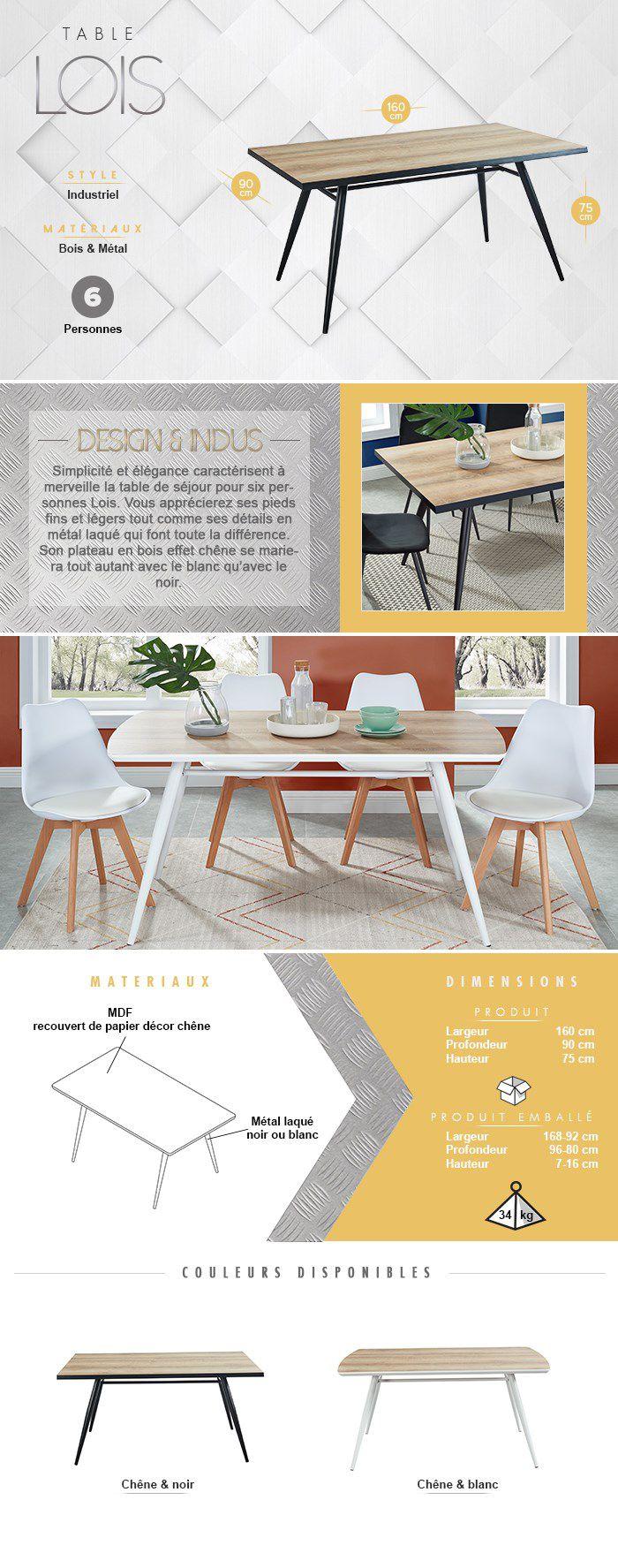 Table 6 à 8 personnes - Métal noir laqué + plateau en MDF décor chêne - L 160 x l 90 x H 75 cm