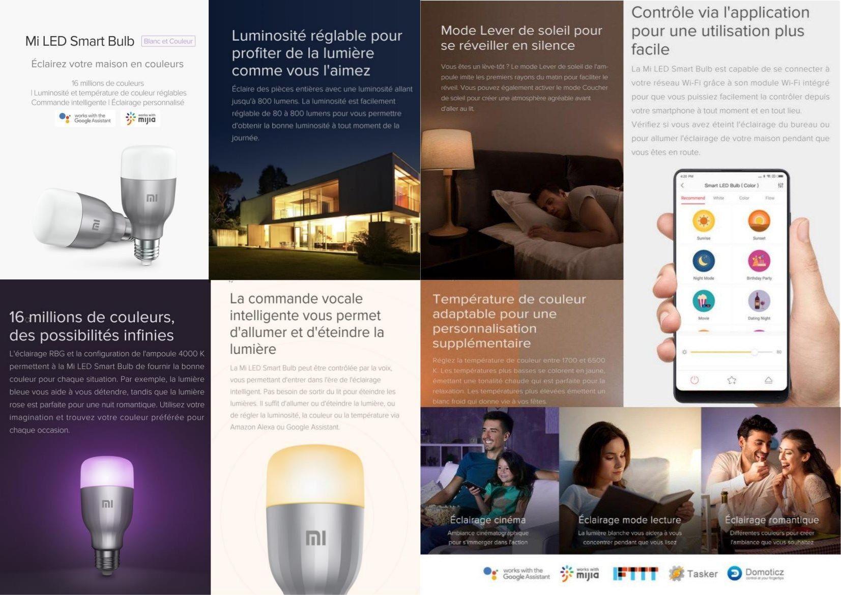 Xiaomi ampoules led connectées lm e w achat