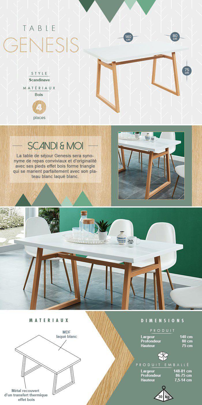 Table De 4 à 6 personnes - Métal décor chêne + plateau en MDF blanc laqué - L 140 x l 80 x H 75 cm